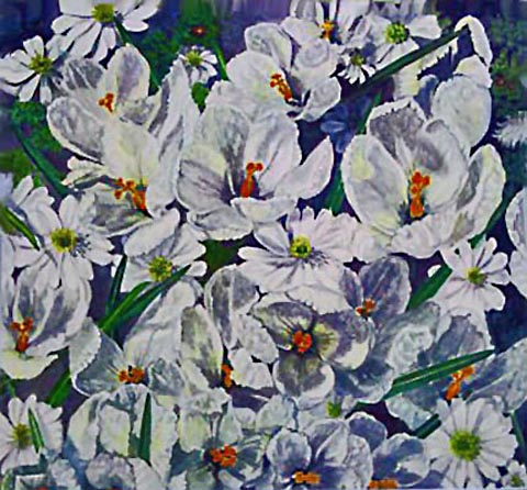Crocuses and Daisies (Watercolor)